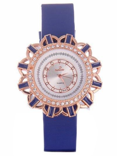 Faux Leather Flower Quartz Watch - BLUE  Mobile
