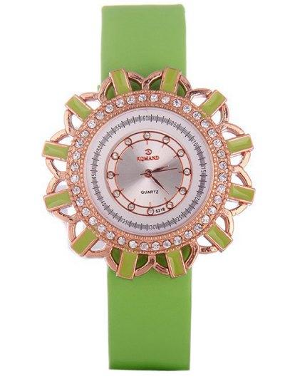 Faux Leather Flower Quartz Watch - GREEN  Mobile