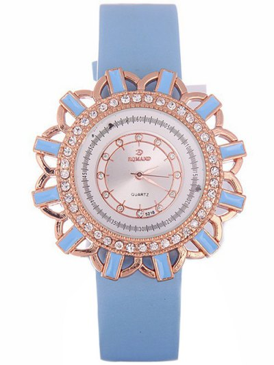 Faux Leather Flower Quartz Watch - AZURE  Mobile