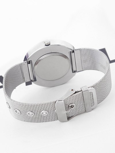 Metal Mesh Rhinestone Quartz Watch - SILVER  Mobile