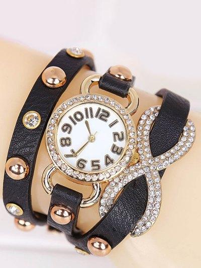Rhinestone Infinite Wrap Bracelet Watch - BLACK  Mobile