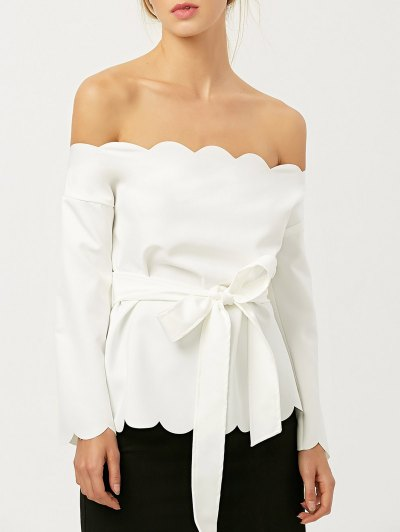 Off The Shoulder Belted Scalloped Blouse - WHITE M Mobile