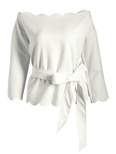 Off The Shoulder Belted Scalloped Blouse от Zaful.com INT