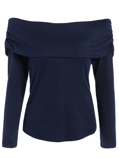 Foldover Off Shoulder Top - PURPLISH BLUE 2XL Mobile
