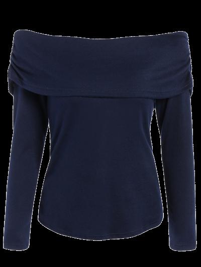 Foldover Off Shoulder Top - PURPLISH BLUE L Mobile