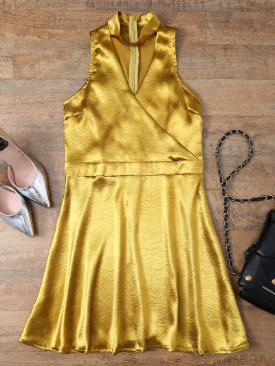 Mini Metallic Satin Choker Dress - GOLDEN M Mobile
