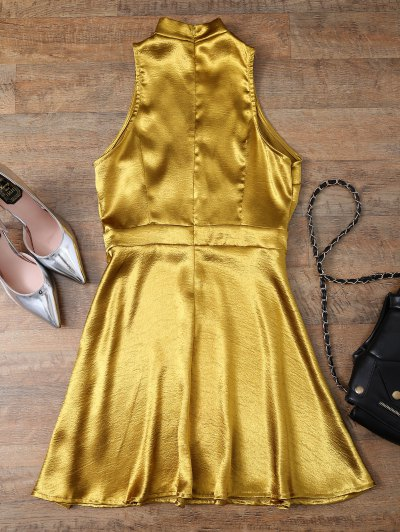 Mini Metallic Satin Choker Dress от Zaful.com INT