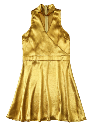 Mini Metallic Satin Choker Dress - GOLDEN S Mobile