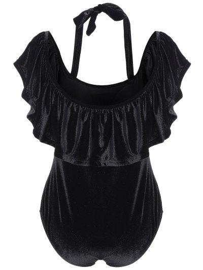 Flounce Velvet Swimsuit - BLACK 4XL Mobile