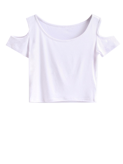 Cold Shoulder Crop Tee - WHITE S Mobile