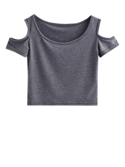 Cold Shoulder Crop Tee - GRAY M Mobile