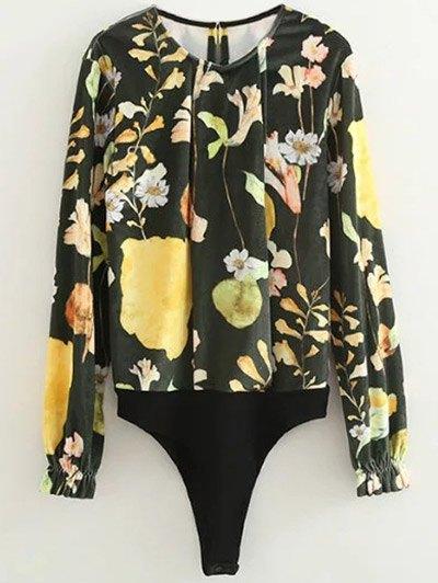 Floral Print Velvet Bodysuit - FLORAL S Mobile