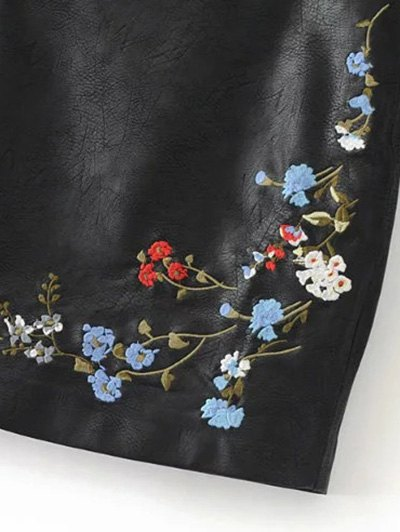 Faux Leather Floral Embroidered Skirt - BLACK L Mobile