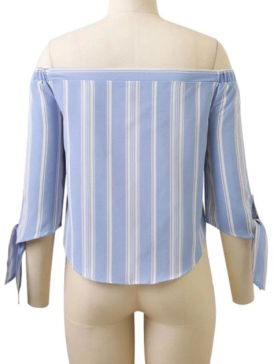 Off Shoulder Tied Striped Blouse - LIGHT BLUE M Mobile