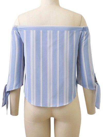 Off Shoulder Tied Striped Blouse - LIGHT BLUE S Mobile