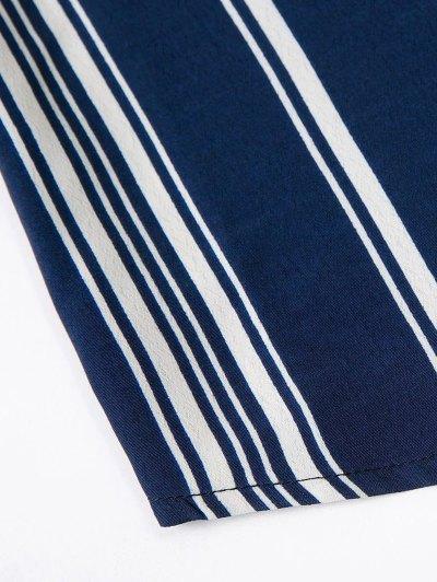Off Shoulder Tied Striped Blouse - DEEP BLUE L Mobile