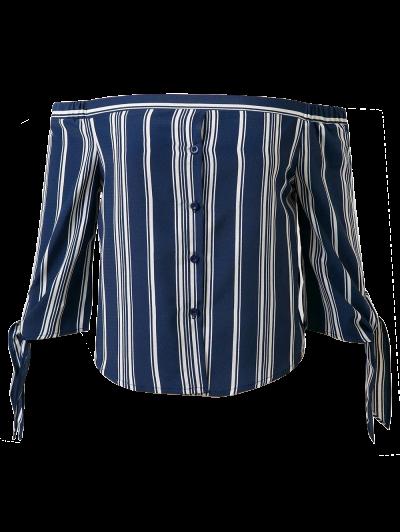 Off Shoulder Tied Striped Blouse - DEEP BLUE M Mobile