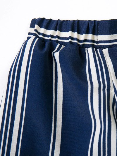 Off Shoulder Tied Striped Blouse - DEEP BLUE S Mobile