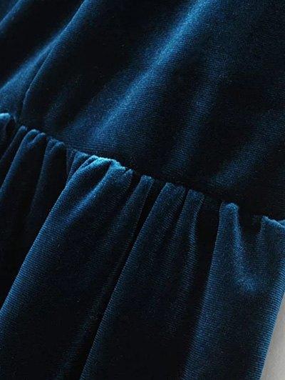 Low Back Slip Velvet Skirted Romper - PEACOCK BLUE L Mobile