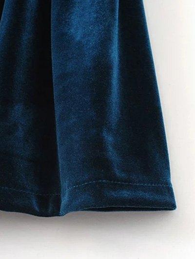 Low Back Slip Velvet Skirted Romper - PEACOCK BLUE M Mobile