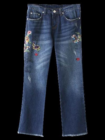 Frayed Hem Floral Cropped Jeans - BLUE L Mobile