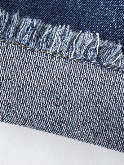 Frayed Hem Floral Cropped Jeans - BLUE M Mobile