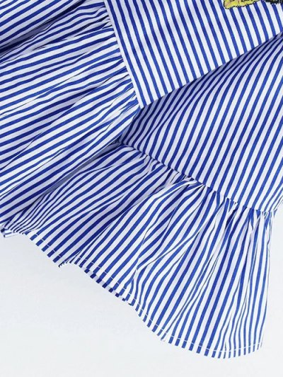 Embroidered Striped Smock Blouse - BLUE L Mobile