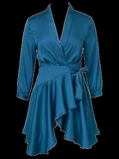 Satin Wrap Robe Dress - PEACOCK BLUE L Mobile