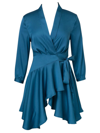 Satin Wrap Robe Dress - PEACOCK BLUE M Mobile
