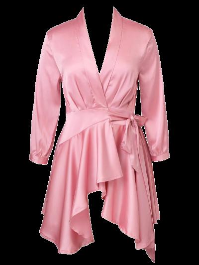 Satin Wrap Robe Dress - PINK M Mobile