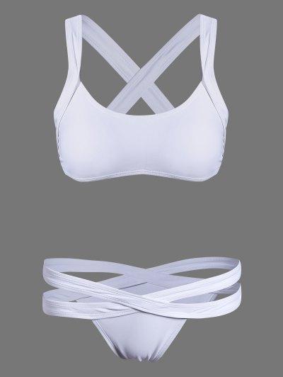 Cut Out Sporty Bikini - WHITE L Mobile