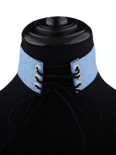 Adjustable Bowknot Denim Choker Necklace - #01  Mobile
