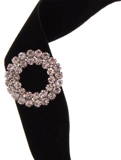 Rhinestone Velvet Floral Choker - BLACK  Mobile