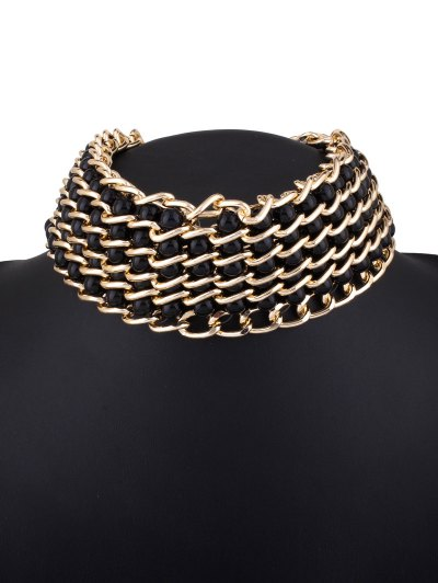 Faux Pearl Layered Necklace - BLACK  Mobile
