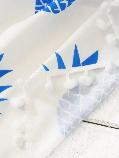 Pineapple Print Tassel Beach Throw - BLUE ONE SIZE Mobile
