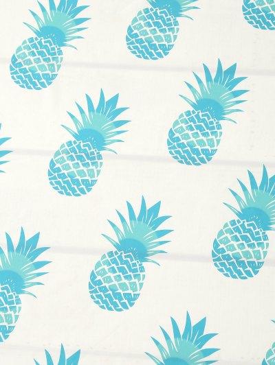 Pineapple Print Tassel Beach Throw - TIFFANY BLUE ONE SIZE Mobile