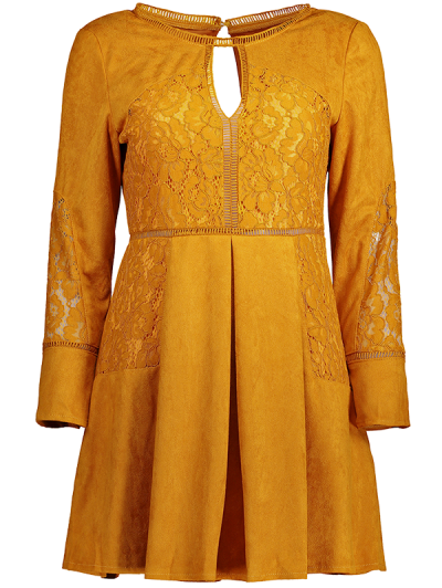 Lace Insert Cut Out Long Sleeve Dress - GINGER 2XL Mobile
