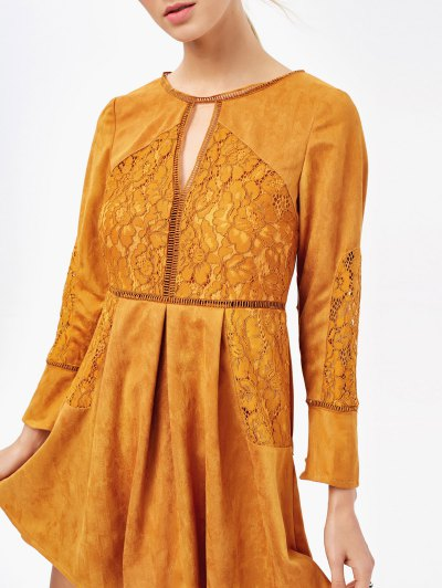 Lace Insert Cut Out Long Sleeve Dress - GINGER M Mobile