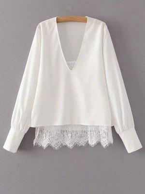 V Neck Lace Camisole Panel Blouse - White