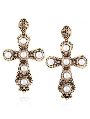 Cross Faux Pearl Drop Earrings - Champagne
