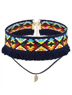 Leaf Crochet Layered Choker Necklace - Blue