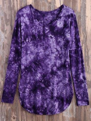 Tie Dyed Long Sleeves Tee - Purple