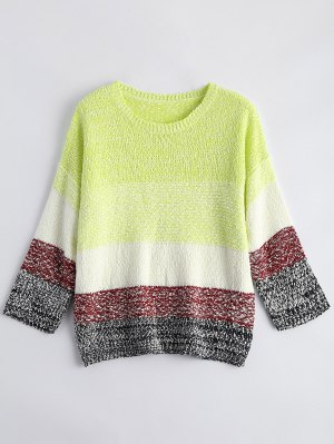 Loose Color Block Sweater - Fluorescent Yellow