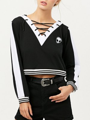 Lace Up V Neck Alien Cropped Hoodie - Black