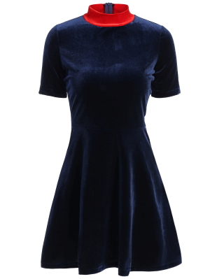 Fitting Velvet Swing Dress - Cadetblue