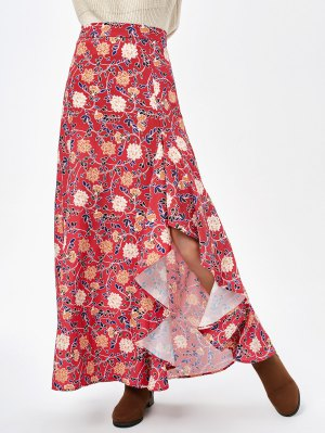 Asymmetric Maxi Floral Skirt - Claret