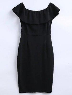 Off The Shoulder Ruffle Slit Work Dress - Black