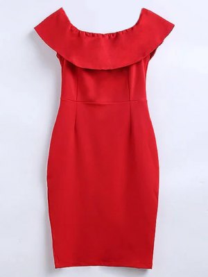 Off The Shoulder Ruffle Slit Work Dress - Red