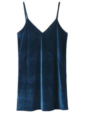 Spaghetti Strap Velour Dress - Lake Blue