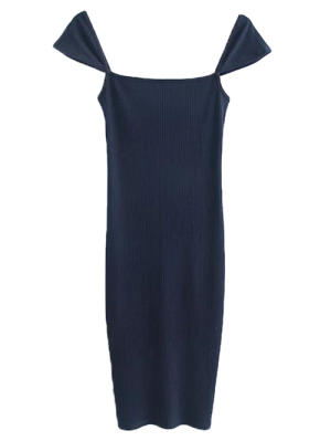 Low Back Ribbed Cap Sleeve Pencil Dress - Purplish Blue